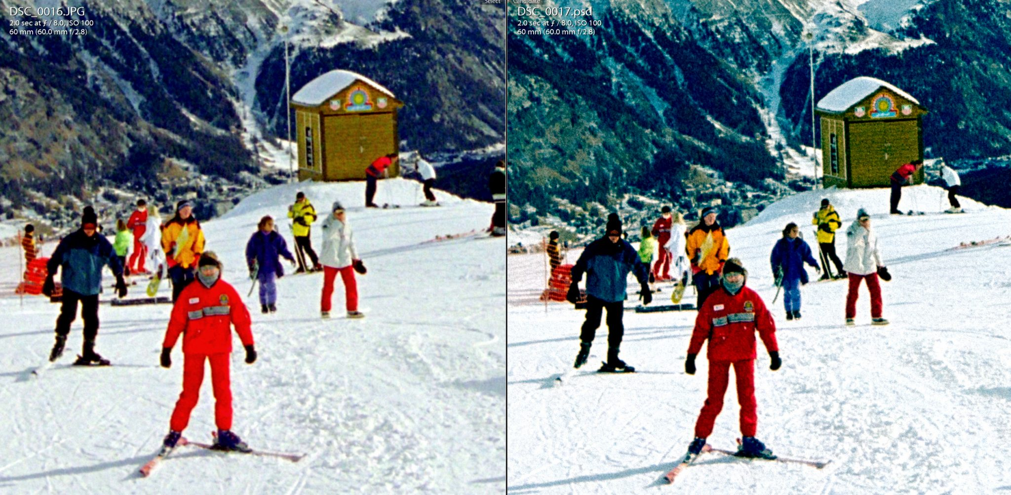 Comparison of Digitized and Photoshopped conversion of film negative of snow scene