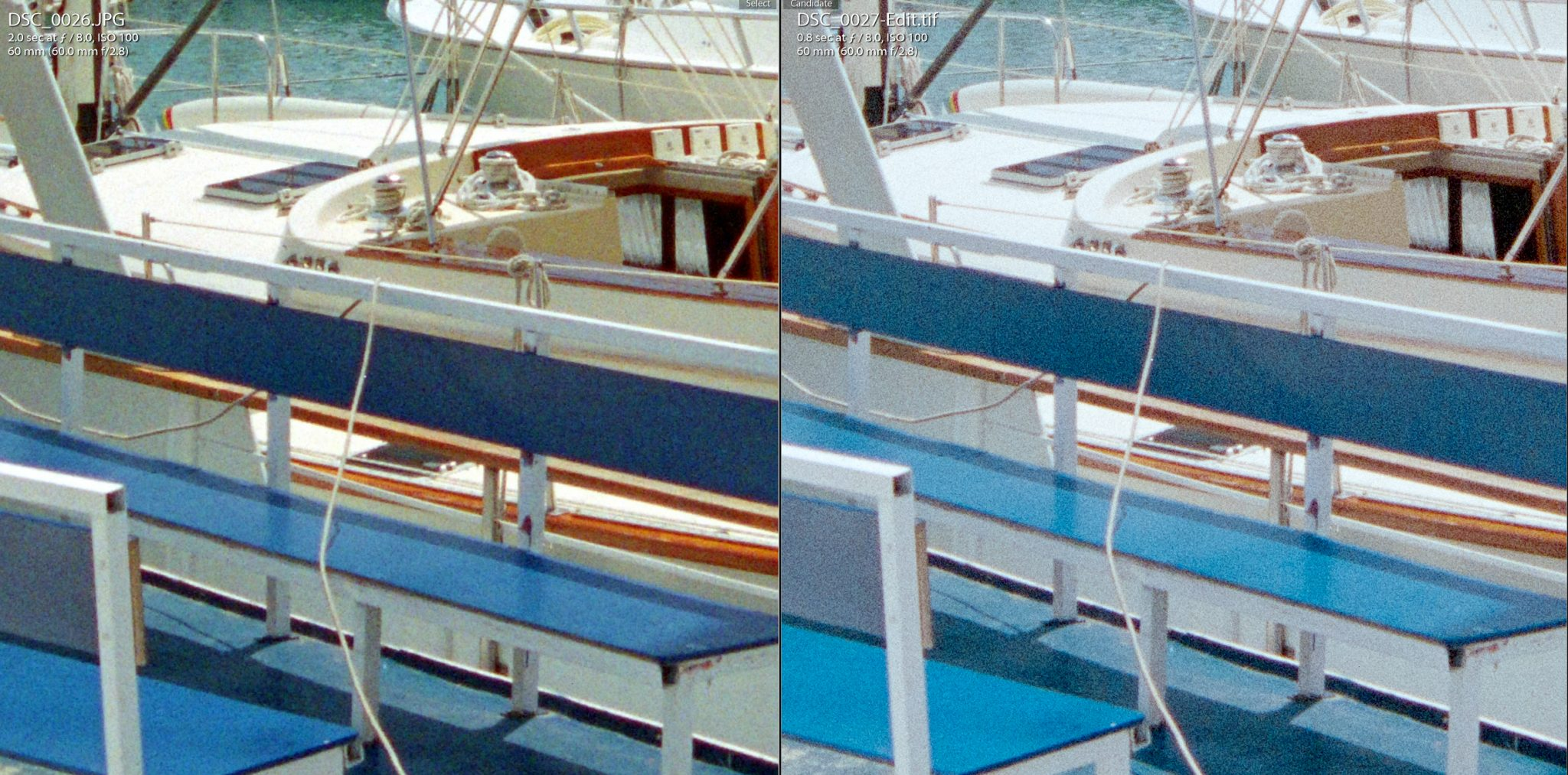 Comparison of Digitized and Photoshopped conversion of film